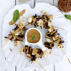 Chicken and Tofu Skewers With Peanu
