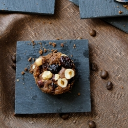 Chocolate Brownie with Dried Fruits and Hazelnuts
