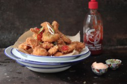 Coconut Prawns with Sriracha Mayo and Kaffir Lime Salt Recipe