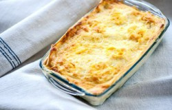 Fish lasagne with cheesy topping