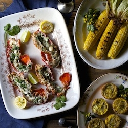 Grilled Lobster with Cilantro Lime Butter Recipe