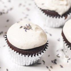 Lavender Frosted Chocolate Cupcakes