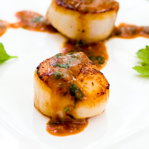 Miso Blood Orange Scallops