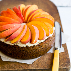 Peaches with GInger-Pecan Cake