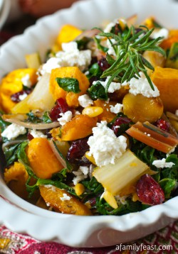 Roasted Butternut Squash with Swiss Chard and Goat Cheese Recipe