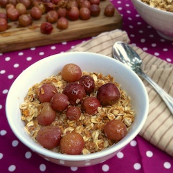 Roasted Grapes with PB Granola