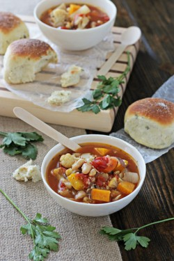 Roasted Vegetable Couscous Beans Soup Recipe