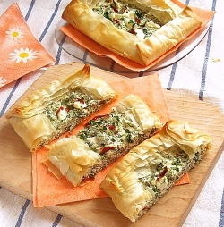 Pastry with cheese and nettles