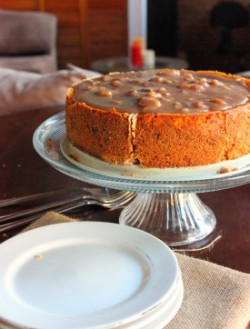 Pumpkin Cheese Cake with Sticky Toffee Sauce