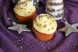 White chocolate lavender cupcakes