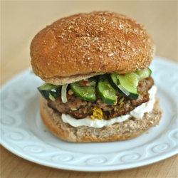 Asian pork burgers w/ spicy pickle