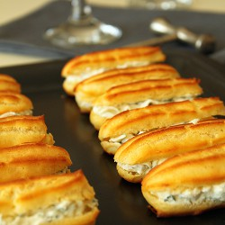 Savory eclairs with creme cheese and fresh herbs