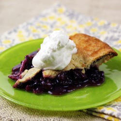 Blueberry Rhubarb Pie with Fresh Whipped Cream