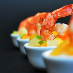 Shrimp on Exotic Fruit Salad