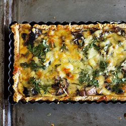 Three cheese, mushroom and caramelised onion quiche