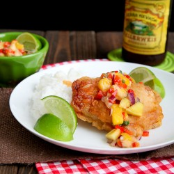 Beer Battered Fish With Mango Salsa