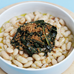 Cannellini beans with braised kale
