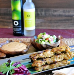 Chicken Satay with Cucumber Relish and Peanut Dipping Sauce