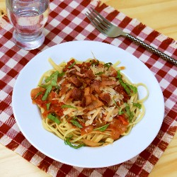 Fettuccine with Tomato Sauce, Parmesan and Bacon