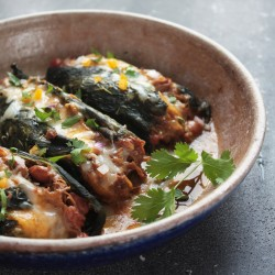 Pulled Pork Chili Stuffed Poblano Peppers