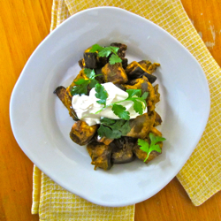 Indian-style curried eggplant