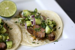 Chili Rubbed Steak Tacos with Cucumber Avocado Salsa