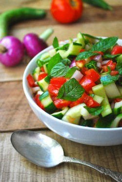 Cucumber and Tomato Salad with Mint