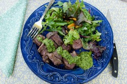 Easy Beef Kebabs with Rosemary Chimichurri Recipe