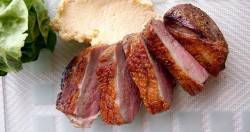 Excellent duck breasts with crispy skin and tender meat…