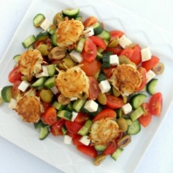 Greek Salad with Latke Croutons