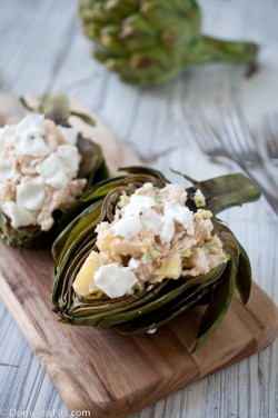 Grilled Artichokes with Crab Filling Recipe