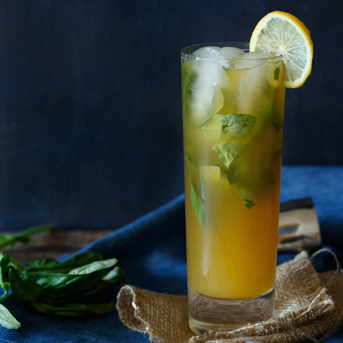 Peach Basil Arnold Palmer Cocktail