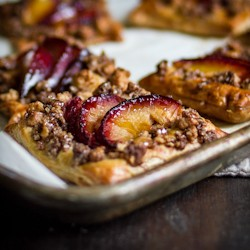 Pluot Puff Pastries With A Cinnamon Shortbread Crumb Topping Recipe
