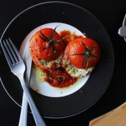 Ricotta and Pesto Stuffed Tomato