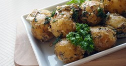 Steamed baby potatoes with dillparsley and creamy saucedelicious spring…