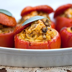Stuffed Tomatoes with Rice Mushrooms Recipe