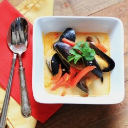 Thai Curry Coconut Mussel Soup