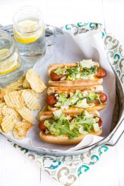 Apple fennel and cheese hot dogs