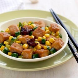 Braised Tofu with Corns and Cucumbers Recipe