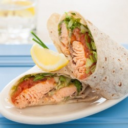 Broiled Salmon Wrap with Mustard
