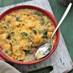 Cauliflower broccoli cheese bake