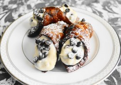 Chocolate Chambord Cannolis