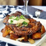 Dry Rubbed Spiced Steak with Smoked Paprika Aioli and Garlic Mushroom Country Croutons Recipe