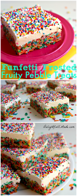 Funfetti Frosted Fruity Pebble Treats