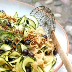 Grape Fennel Tagliatelle with Tamari Toasted Seeds