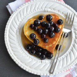Heart Pancakes with Blueberry Syrup