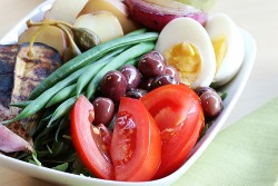Nicoise Salad with Grilled Vegetables and Basil Mustard Vinaigrette