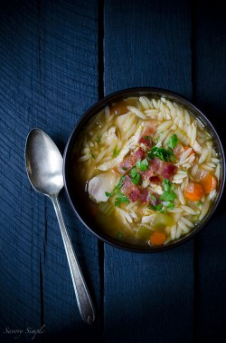 One Pot Chicken and Bacon Orzo Soup