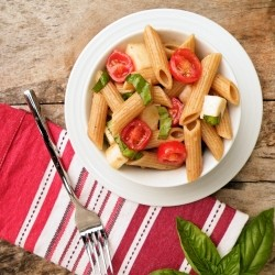 Pasta with Tomato Basil Mozzarella