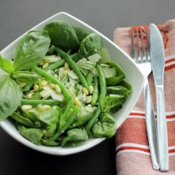 Pesto Salad with Basil Parmesan and Green Beans